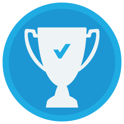 Trophee with check mark icon